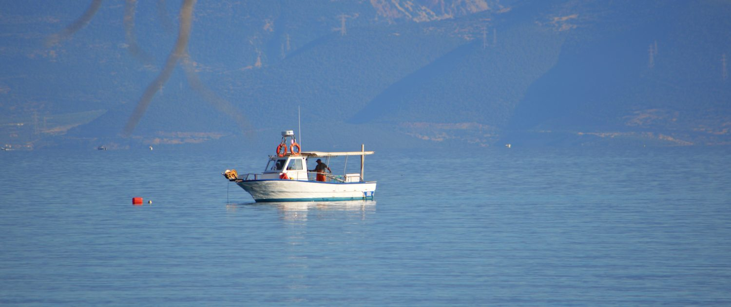 Fishing boat in elaionas crystal clear waters